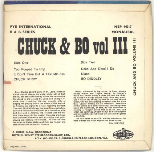 """Chuck Berry Chuck & Bo Vol. 3 7"""" vinyl single (7 inch record) UK CHK07CH609763"""