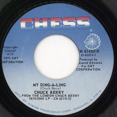 "Chuck Berry My Ding-A-Ling 7"" vinyl single (7 inch record) US CHK07MY720736"