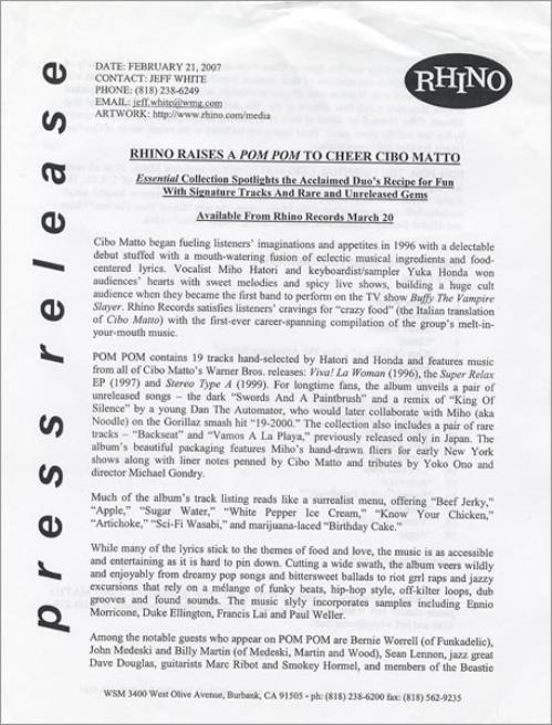 Cibo Matto Pom Pom Us Promo Media Press Pack 437240 Press Pack