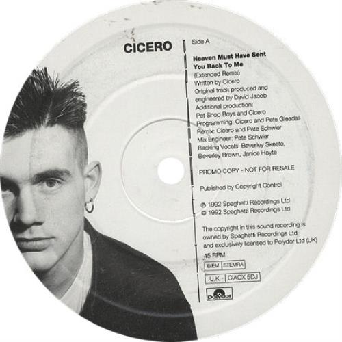 """Cicero Heaven Must Have Sent You Back To Me 12"""" vinyl single (12 inch record / Maxi-single) UK CIC12HE10563"""