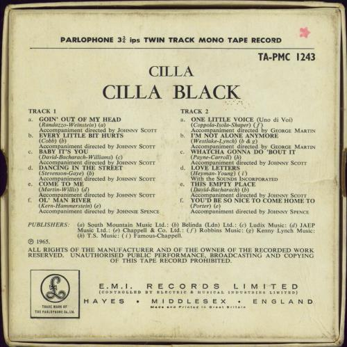 Cilla Black Cilla - Mono Reel-To-Reel Tape Reel to Reel UK CILRRCI769846