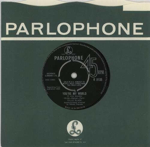 "Cilla Black You're My World 7"" vinyl single (7 inch record) UK CIL07YO294686"