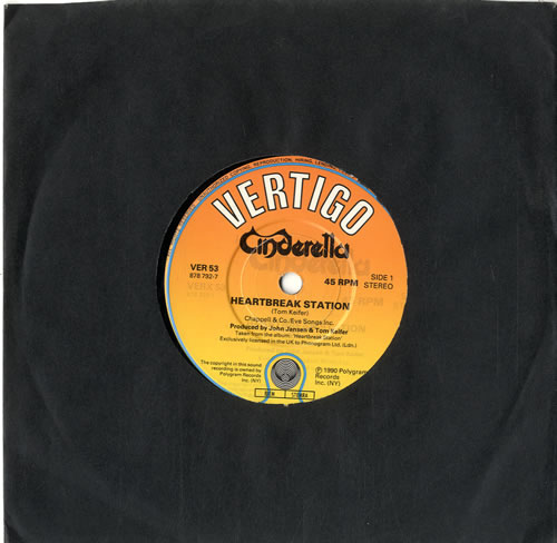 "Cinderella Heartbreak Station 7"" vinyl single (7 inch record) UK CIN07HE615041"