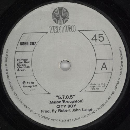 "City Boy 5.7.0.5. (Five Seven Oh Five) - Solid - Irish 7"" vinyl single (7 inch record) Irish CTB07FI731715"