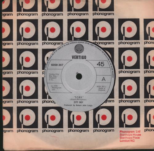 "City Boy 5.7.0.5. (Five Seven Oh Five) - Solid 7"" vinyl single (7 inch record) UK CTB07FI671057"