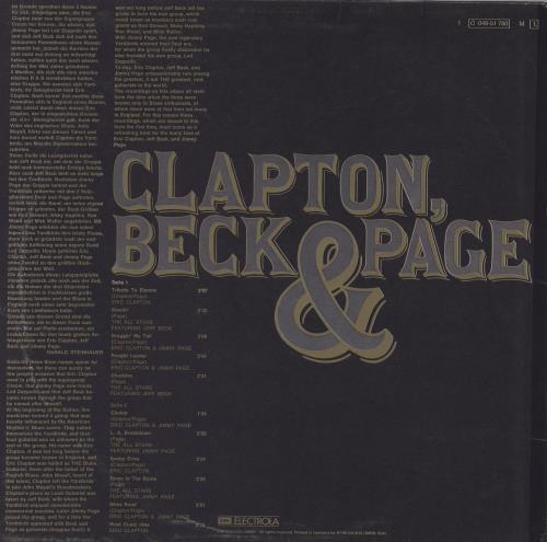 Clapton, Beck & Page Clapton, Beck & Page vinyl LP album (LP record) German F3ELPCL761479