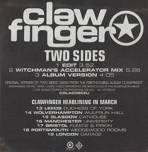 """Clawfinger Two Sides CD single (CD5 / 5"""") UK CLWC5TW121564"""