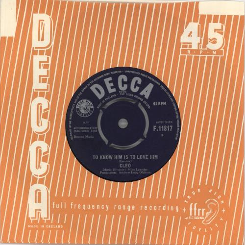 """Cleo To Know Him Is To Love Him 7"""" vinyl single (7 inch record) UK E3E07TO585715"""