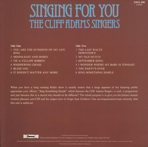 Cliff Adams Singing For You vinyl LP album (LP record) UK 5CALPSI732958
