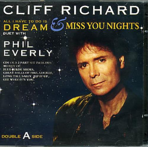 """Cliff Richard All I Have To Do Is Dream/Miss You Nights CD single (CD5 / 5"""") UK RICC5AL90458"""
