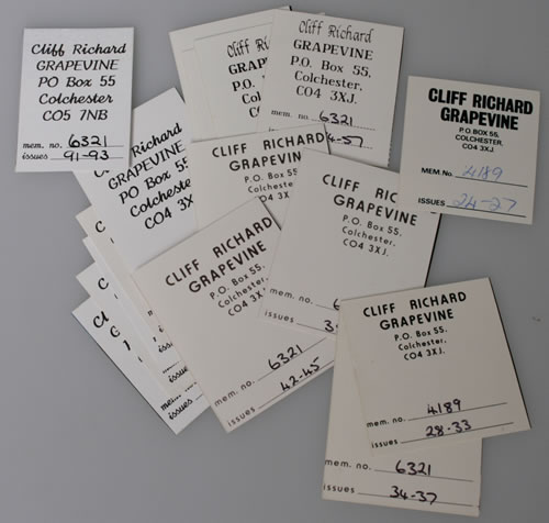 Cliff Richard Collection of Grapevine Fanzines & Xmas Cards memorabilia UK RICMMCO547693