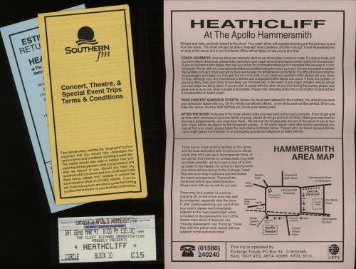 Cliff Richard Heathcliff + Ticket Stub & Merchandise Insert UK tour ...