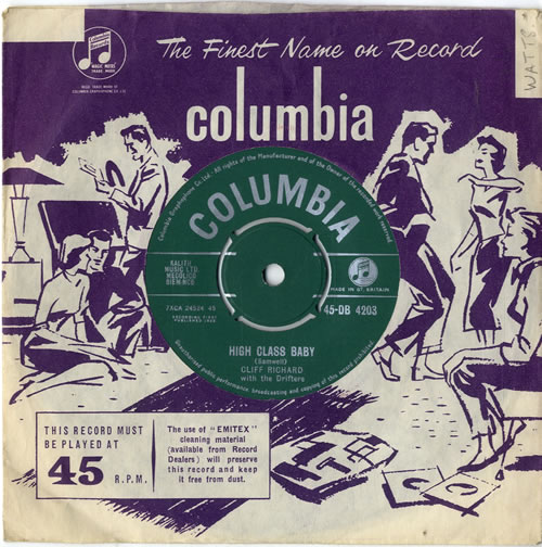 "Cliff Richard High Class Baby 7"" vinyl single (7 inch record) UK RIC07HI605822"