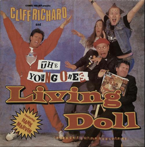 "Cliff Richard Living Doll (The Disco Funk Get Up Get Down Go To The Lavatory Mix) 12"" vinyl single (12 inch record / Maxi-single) UK RIC12LI05784"