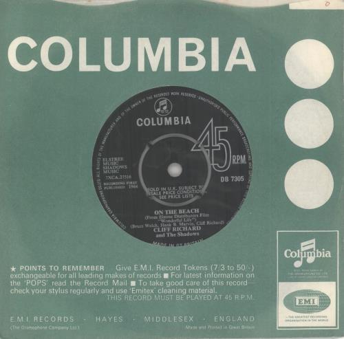 "Cliff Richard On The Beach 7"" vinyl single (7 inch record) UK RIC07ON269722"