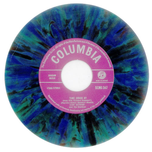 """Cliff Richard Time Drags By - Multicoloured Vinyl 7"""" vinyl single (7 inch record) Greek RIC07TI532219"""