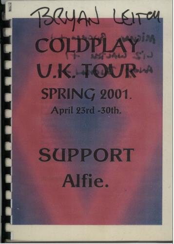 Coldplay A Quantity of 5 x 2001 Tour Itineraries Itinerary UK DPYITAQ643932