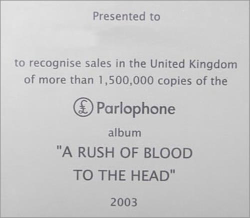 Coldplay A Rush Of Blood To The Head in-house award disc UK DPYAIAR484870
