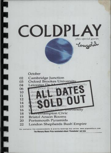 Coldplay First UK Headline Tour Itinerary Itinerary UK DPYITFI643931