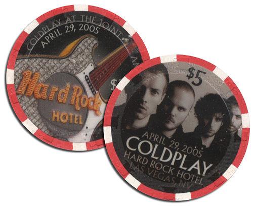 Coldplay Gaming Chip - Hard Rock Hotel $5 memorabilia US DPYMMGA324723