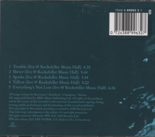 "Coldplay Trouble - Norwegian Live EP CD single (CD5 / 5"") Norwegian DPYC5TR179503"