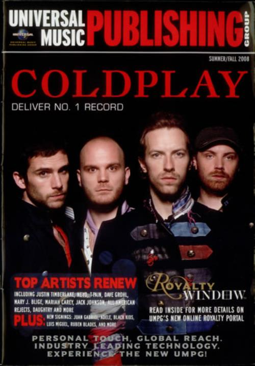 Coldplay Universal Music Publishing Group magazine US DPYMAUN547855