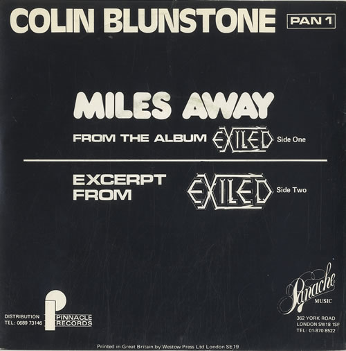 "Colin Blunstone Miles Away 7"" vinyl single (7 inch record) UK BLN07MI56872"