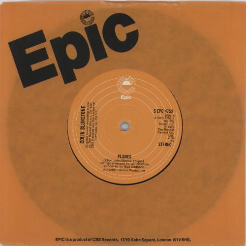 "Colin Blunstone Planes 7"" vinyl single (7 inch record) UK BLN07PL238448"