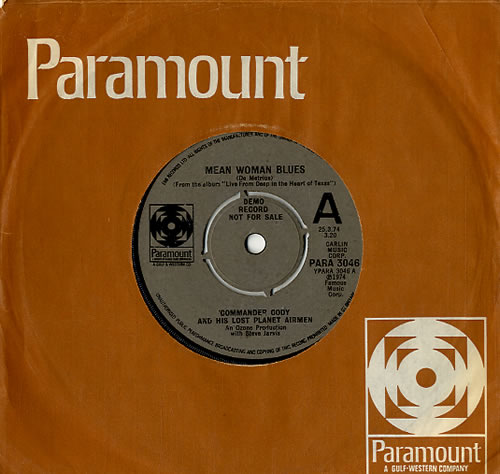 """Commander Cody & The Lost Planet Airmen Mean Woman Blues 7"""" vinyl single (7 inch record) UK CCY07ME609967"""