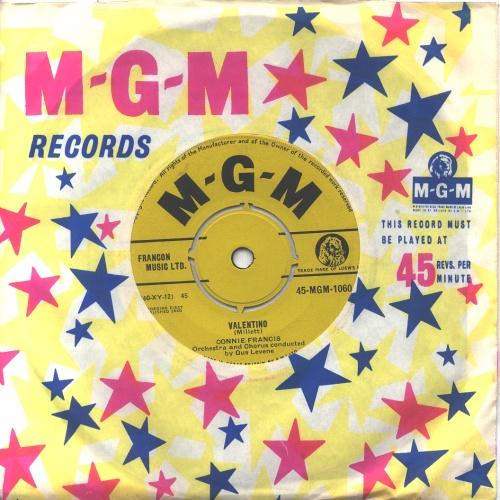 "Connie Francis Valentino 7"" vinyl single (7 inch record) UK CNF07VA613132"