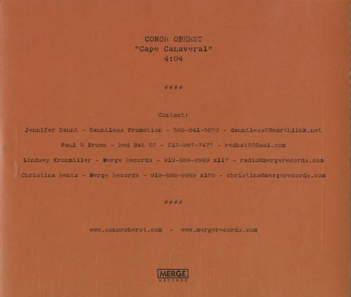 "Conor Oberst Cape Canaveral CD single (CD5 / 5"") US CN5C5CA462638"