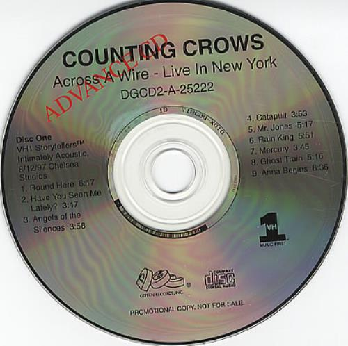 Counting Crows Across A Wire - Live In New York US Promo 2 CD album set  (Double CD)