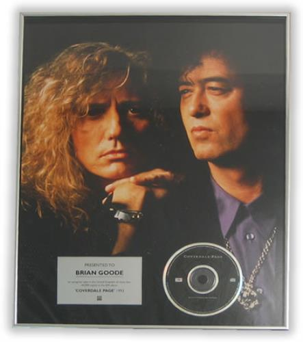 Coverdale Page Coverdale Page in-house award disc UK COVAICO406343