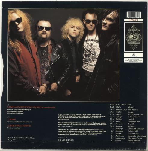 "Crazyhead Time Has Taken Its Toll On You 12"" vinyl single (12 inch record / Maxi-single) UK CA212TI700944"