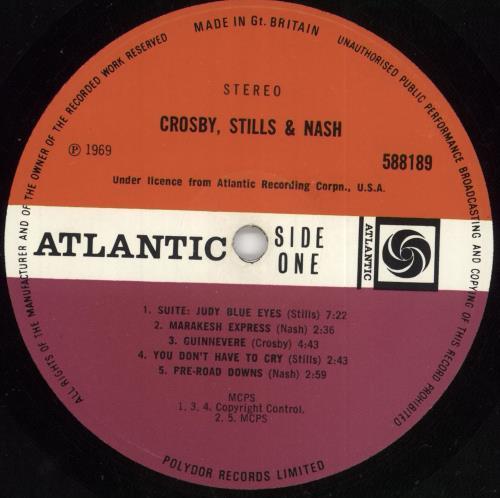 Crosby, Stills & Nash Crosby, Stills & Nash - 1st + Insert - Revised Catalogue Number Sticker Sleeve vinyl LP album (LP record) UK NOYLPCR730703