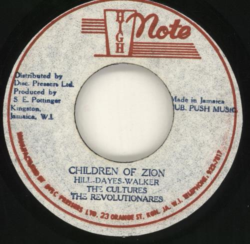 "Culture Children Of Zion 7"" vinyl single (7 inch record) Jamaican CE407CH716131"