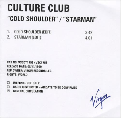 Culture Club Cold Shoulder/Starman CD-R acetate UK CULCRCO147226