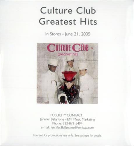 Culture Club Greatest Hits CD-R acetate US CULCRGR535384