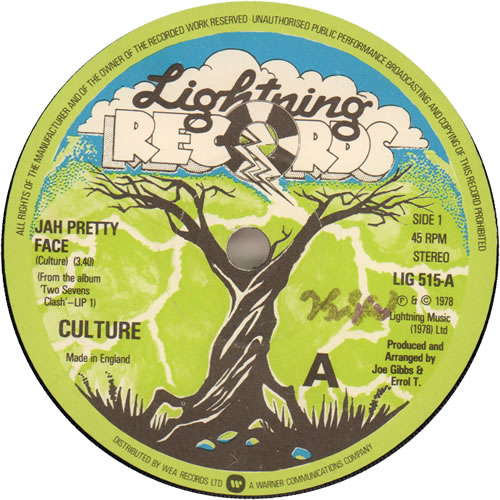 "Culture Jah Pretty Face 7"" vinyl single (7 inch record) UK CE407JA638865"