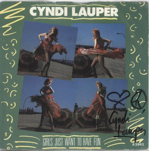 """Cyndi Lauper Girls Just Want To Have Fun - Autographed 7"""" vinyl single (7 inch record) UK LAU07GI722254"""