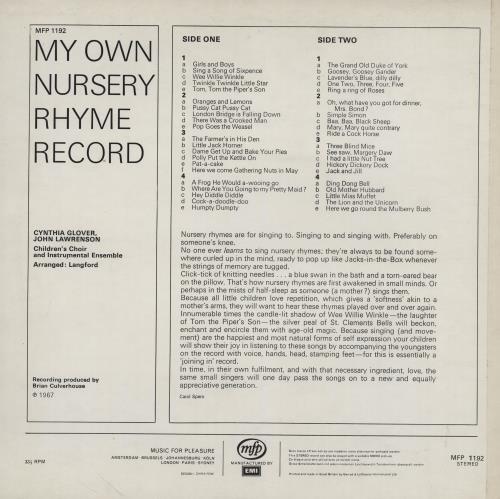 Cynthia Glover My Own Nursery Rhyme Record vinyl LP album (LP record) UK 2Z8LPMY758874