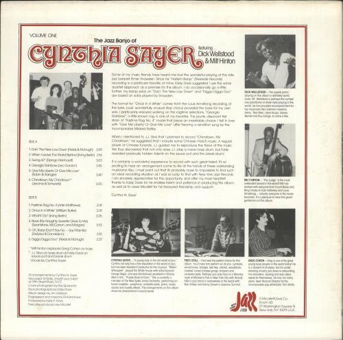 Cynthia Sayer The Jazz Banjo Of Cynthia Sayer Volume One vinyl LP album (LP record) US Z2QLPTH723335