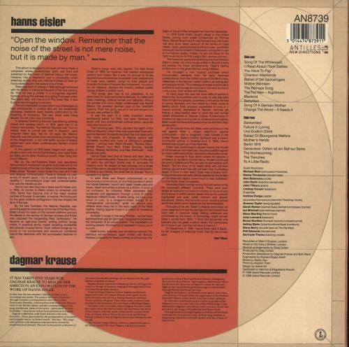 Dagmar Krause Tank Battles: The Songs Of Hanns Eisler vinyl LP album (LP record) UK IYGLPTA709156