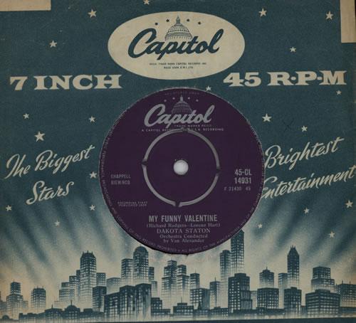"""Dakota Staton My Funny Valentine 7"""" vinyl single (7 inch record) UK DKA07MY570403"""