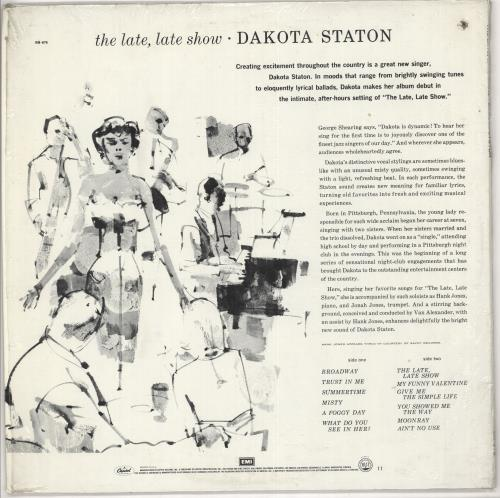 Dakota Staton The Late, Late Show - Deletion hole vinyl LP album (LP record) US DKALPTH724111
