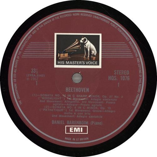 Daniel Barenboim Beethoven Sonatas: Pathertique, Appassionata, Moonlight vinyl LP album (LP record) UK H39LPBE526076