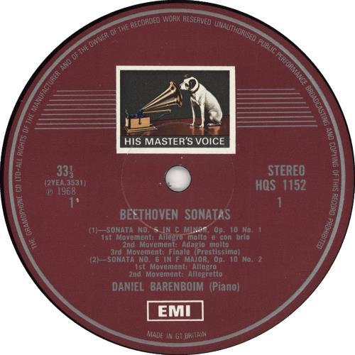 Daniel Barenboim Beethoven Sonatas vinyl LP album (LP record) UK H39LPBE723493