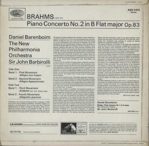 Daniel Barenboim Brahms: Piano Concerto No. 2 in B Flat vinyl LP album (LP record) UK H39LPBR660037