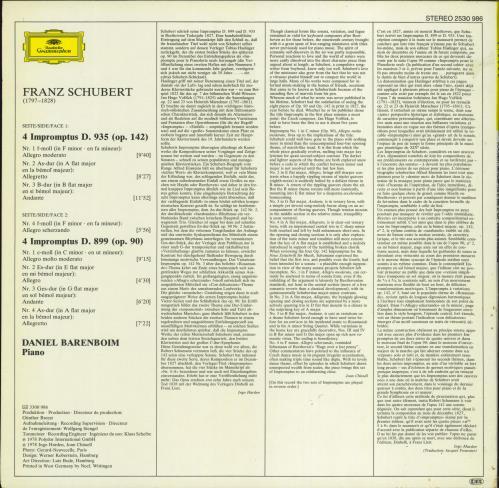 Daniel Barenboim Franz Schubert: Impromptus vinyl LP album (LP record) German H39LPFR771151