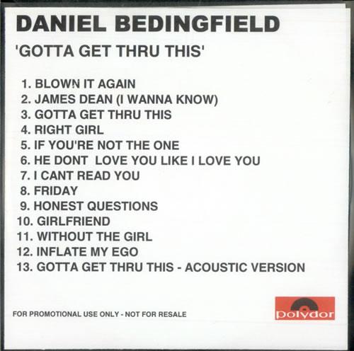 Daniel Bedingfield Gotta Get Thru This CD-R acetate UK DBECRGO500400